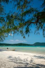 Saracen Bay beach in Koh Rong Samloen island in Cambodia.