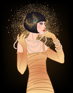 Art Deco vintage invitation template design with illustration of flapper girl. patterns and frames. Retro party background set 1920s style. Vector for glamour event, thematic wedding or jazz party