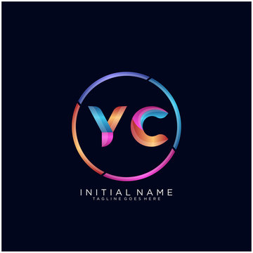 Initial letter YC curve rounded logo, gradient vibrant colorful glossy colors on black background