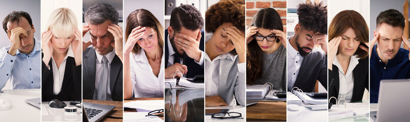 Stressed People At Work Collage