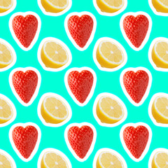 seamless food pattern with fresh slice lemon and strawberries on light cyan background