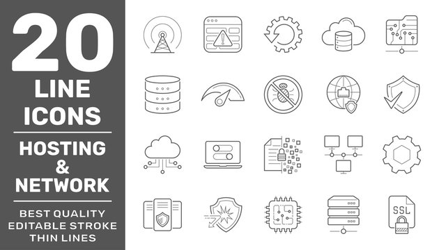 Network Hosting and Servers line vector Icons. Editable Stroke. EPS 10