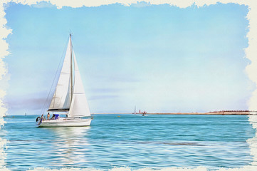 Yacht in the sea. Imitation of a picture. Oil paint. Illustration