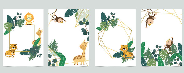 Wall Mural - Green collection of jungle frame set with leaf,leaves,leopard,lion,giraffe vector illustration for birthday invitation,postcard,logo and sticker