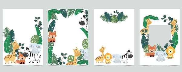 Wall Mural - Green collection of jungle frame set with leaf,leaves,fox,lion,giraffe vector illustration for birthday invitation,postcard,logo and sticker