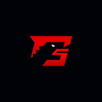 G letter logo initial negative space of godzilla head