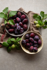 Overhead view of fresh plums in two bowls