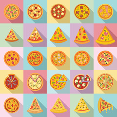 Pizza icons set. Flat set of pizza vector icons for web design
