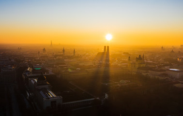 Munich from above during sunset Fototapete