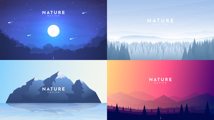 Fototapete - Set of 4 nature backgrounds. Misty night with moon light, winter forest, morning scene, mountain with reflection in water, colorful sky and polygonal hills. Vector flat landscape. Website template