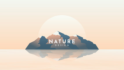 Fototapete - Vector color illustration. Island in sea. Minimalist geometric background. Panoramic wallpaper. Rock silhouette reflection in water. Mountain in ocean. Website or game template. Sunset or sunrise