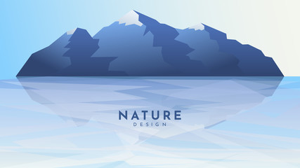 Fototapete - Vector illustration. Island in sea. Minimalist geometric background. Panoramic blue wallpaper. Rock silhouette reflection in water. Mountain in ocean. Website or game template. Clear gradient sky
