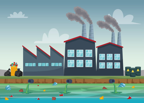 factory industry polluting teh water scene