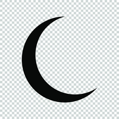 crescent moon icon flat vector on transparent background