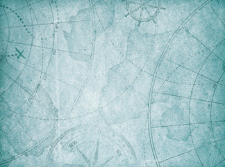 Wall Mural - blue old abstract map background.