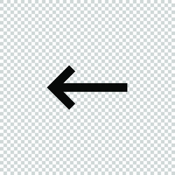left arrow  icon vector flat on transparent background