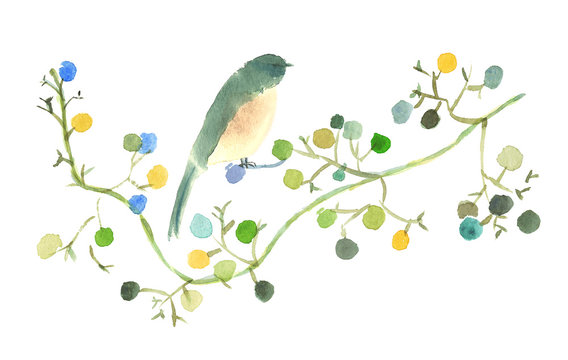 水彩実と鳥イラスト