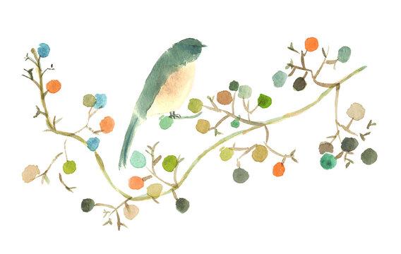 水彩実と鳥オリジナル