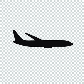 plane icon flat vector on transparent background