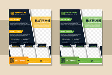 Design element for corporate graphic horizontal layout flyer. Modern abstract geometry background template design with space for photo. can used for investment, business, real estate, construction.