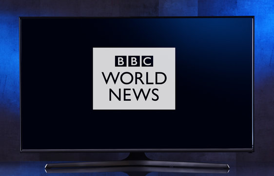 Flat-screen TV set displaying logo of BBC World News