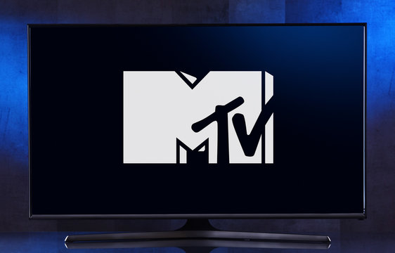 Flat-screen TV set displaying logo of MTV