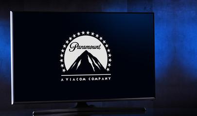Flat-screen TV set displaying logo of Paramount