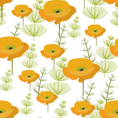 Seamless pattern. yellow poppy Flowers and green herbaceous plants. Vector background, suitable for fabric, textiles, bedding, covers