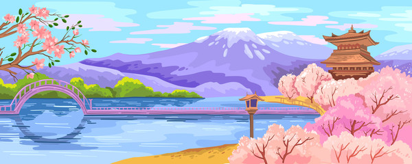Poster de jardin Piscine Vector Japanese scenery with sakura garden, lake, bridge, pagoda and mountains on the background. Spring hand drawn landscape for tourist posters, advertisements, landing pages, banners.