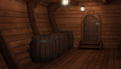 Fotorolgordijn Schip Inside old ship. Hold or cabin of a ship background. 3d illustration of pirate cabin.