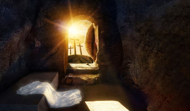 He is Risen. Empty tomb of Jesus with Shroud. Crucifixion of savior Jesus at Sunrise. -3d rendering. - Illustration.