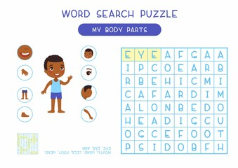My body parts word search puzzle flat vector design. Anatomy learning game for kids template, cartoon worksheet idea. Childish printable crossword with human external organs names layout