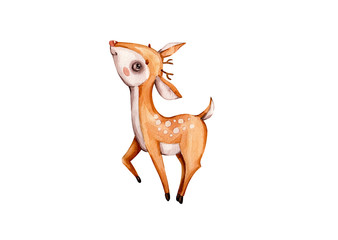Nursery watercolor baby deer in boho style on white background. Watercolor hand drawn illustration. Reindeer poster. Nursery print. Baby illustration. Forest animal. Baby deer character. Handpainted.