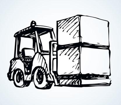 Forklift for transportation. Vector drawing