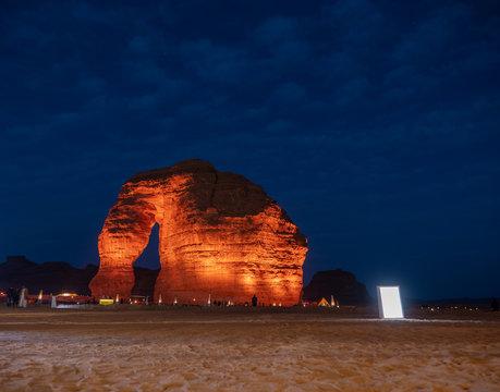 Tourists gather at the Elephant Rock geological site near Al Ula, Saudi Arabia.