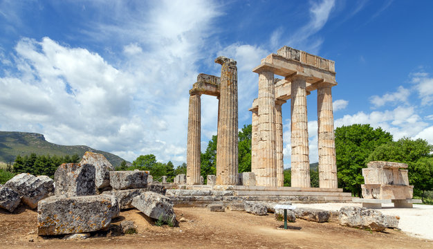 Ancient Temple of Zeus in Nemea, Peloponnese, Greece.