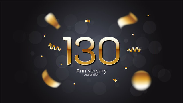 130th anniversary celebration Gold numbers editable vector EPS 10 shadow and sparkling confetti with bokeh light black background. modern elegant design for wedding party or company event decoration
