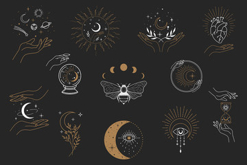 Vector witch magic design elements set. Hand drawn, doodle, sketch magician collection. Witchcraft symbols. Perfect for tattoo, textile, cards, mystery Fotomurales