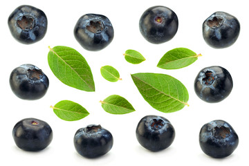 Blueberry with leaf closeup collection