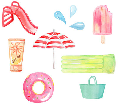 watercolor hand drawn pool supplies and accessories set isolated on white background for summer party
