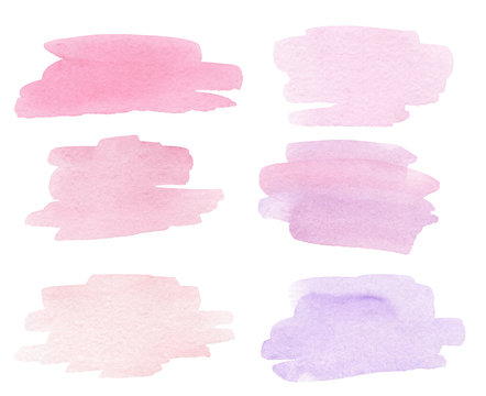 watercolor hand drawn pink splashes textures isolated on white background. Can be used in wedding invitations, cards, logo design