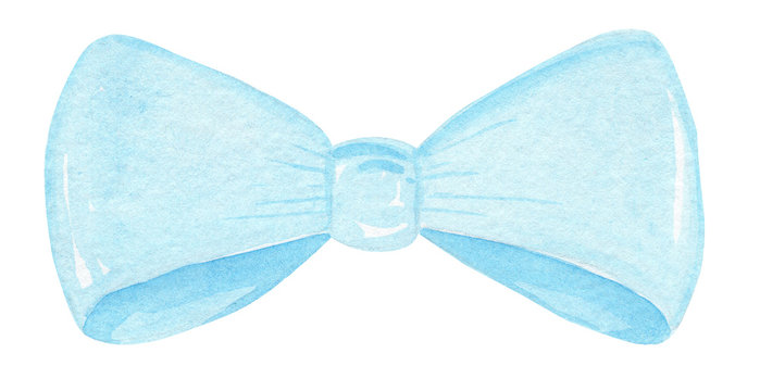 watercolor hand drawn blue bow tie isolated on white background