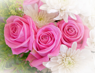 light violet colored roses and white chrysanthemums flowers bouquet top view, filtered image