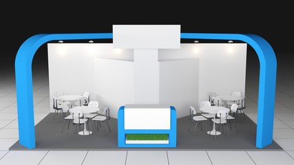 blue stand or booth in a tradeshow