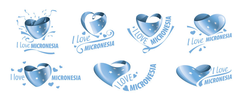 National flag of the Micronesia in the shape of a heart and the inscription I love Micronesia. Vector illustration