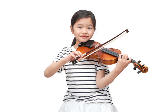 Asian girl play violin on white background (clipping path)