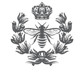 Vector monochrome illustration with bee, imperial crown and laurel wreath