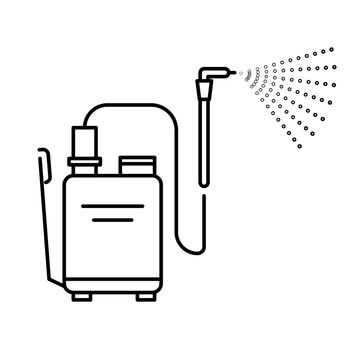 Spray tool, high pressure washer with sprayer isolated line icon