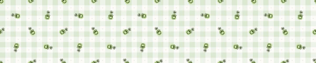 Hand drawn whimsical flower pot gingham seamless border pattern. Vector vintage check retro vegetable banner background. Green farm market tablecloth washi tape edging. Drawn sketchy ribbon trim.