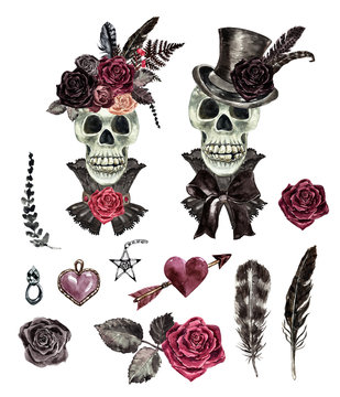 Watercolor hand drawn skeleton bride and groom illustration. Dead skull of men and women, black feathers, hearts, roses, isolated on white background. Wedding and Valentines day concept.